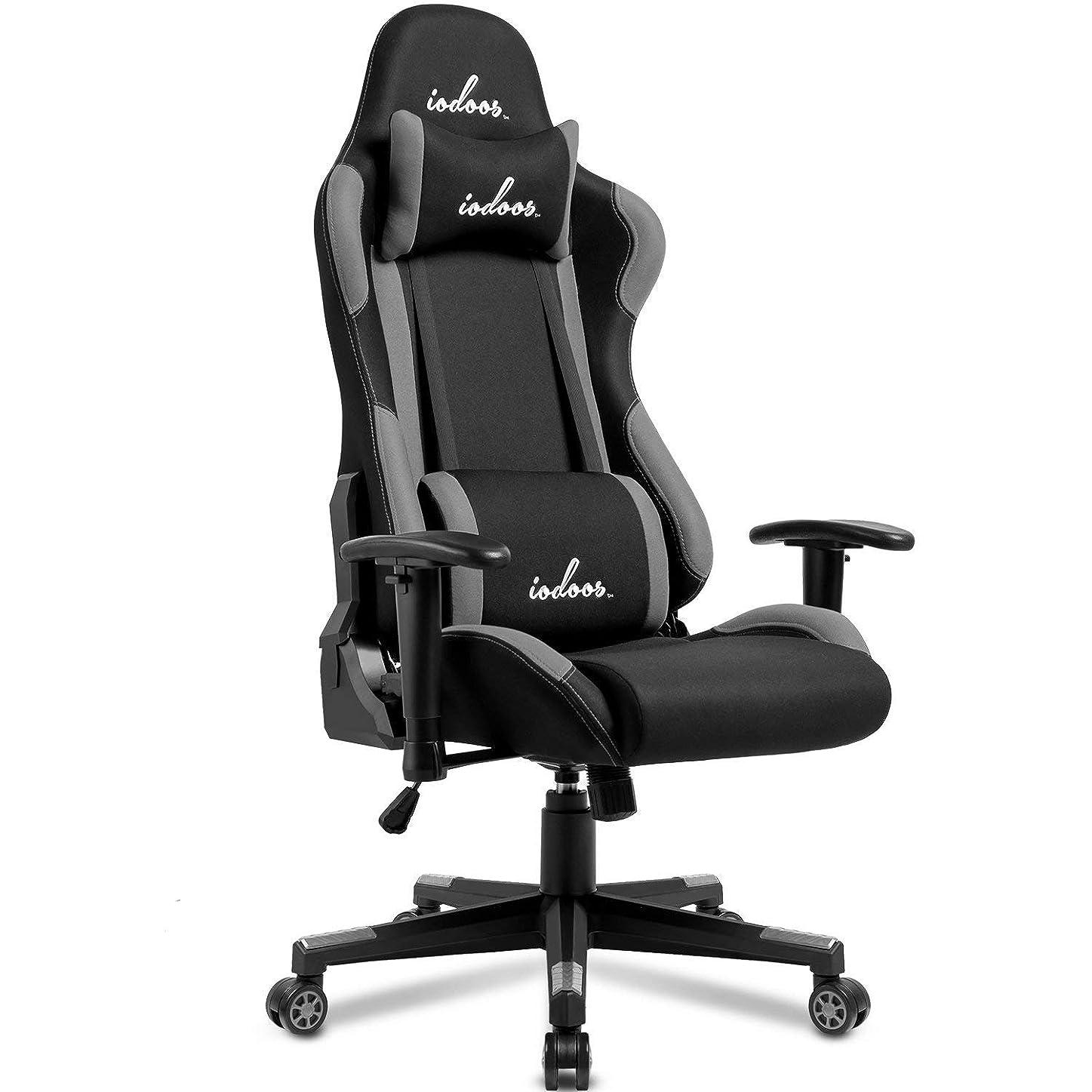 IODOOS ゲーミングチェア 布地 gaming chair パソコンチェア 上下昇降 180度リクライニング ランバーサポート付き 肘掛付き 通気性抜群 (Grey) 01CAA