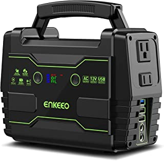 ENKEEO Portable Power Station, 155Wh Lithium Backup Battery Pack 110V 100W Solar Generator (Solar Panel Optional) with AC Outlet USB DC Supply for Outdoors Camping Travel Fishing Hunting Emergency
