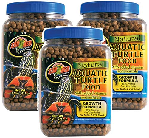 Zoo Med 3 Pack of Natural Aquatic Turtle Food with Growth Formula, 7.5 Ounces Per Container