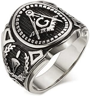 Silver Color Freemason Ring - stainless steel with classic center design, pin stripes, etched tool symbols (Masonic Rings for Sale) Sizes 7-13