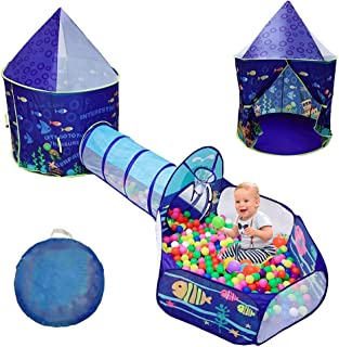 LOJETON 3pc Ocean World Kids Play Tent, Tunnel & Ball Pit with Basketball Hoop for Boys, Girls and Toddlers - Indoor/Outdoor Playhouse, Lightweight, Easy to Setup