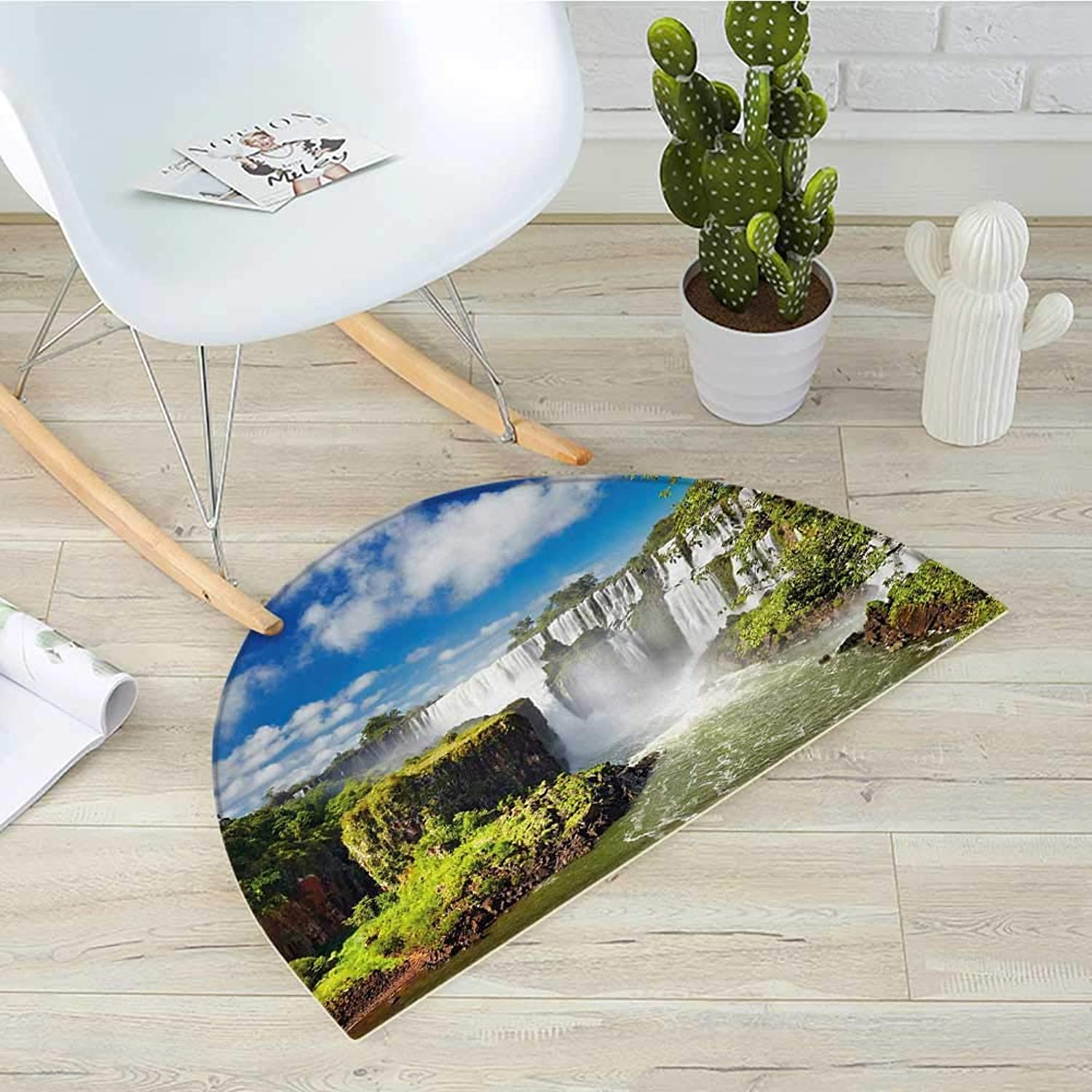 Landscape Semicircular CushionMajestic Waterfall River silverinean Falls Natural Wonders Scenery Nature Imagery Entry Door Mat H 23.6  xD 35.4  Multicolor