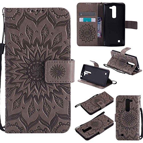 pinlu® PU Leder Tasche Etui Schutzhülle für LG G4c(5zoll)/LG Magna Lederhülle Schale Flip Cover Tasche mit Standfunktion Sonnenblume Muster Hülle (Grau)