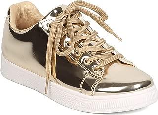 Alrisco Women Metallic Leatherette Low Top Lace Up Sneaker GC63