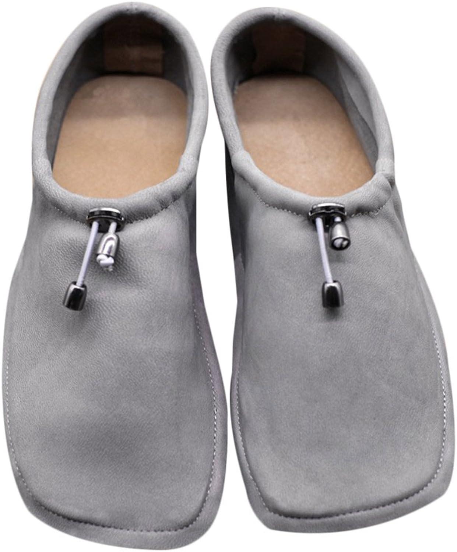 Dwarves Handmade Soft Leather Square Toe Loafer Flats Pumps Grey