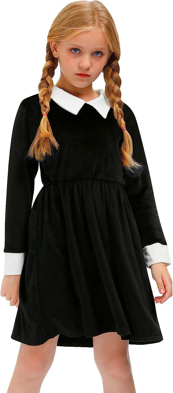 BesserBay Halloween Girls Velvet Peter Swing Black Elegant In a popularity Pan Dr Collar