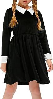Halloween Girls Velvet Peter Pan Collar Swing Black Dress...