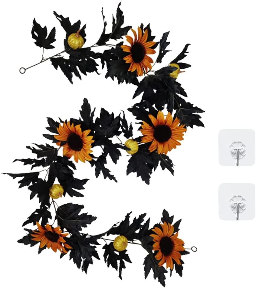 Store Halloween Deluxe Fall Maple Garland Sunflower Artificial Pumpkin 5.9ft