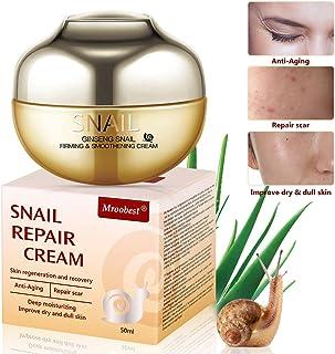 Crema de Baba de Caracol Snail Repair Cream Natural Snail Extract Cream Crema Facial para Hidratante Reafirma y Nutrit...