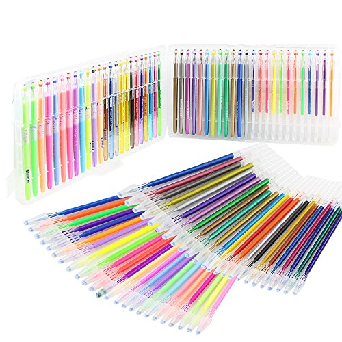 SunAngel 48 Colors Gel Ink Pen with Bonus 48 Gel Ink Refills,Vibrant Colors Including 12 Pastel, 12 Neon, 12 Glitter and 12 Metallic (Pack of 48 + 48 refills, 0.8-1.0mm Fine Point)