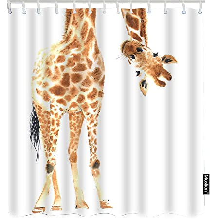 TocaHome Modern Bath Curtain Wild Animal Watercolor Giraffe Waterproof Fabric Polyester Shower Curtain Set with Hooks Stall Size 36x72 Inch