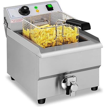 Royal Catering Freidora Eléctrica Para Hostelería 16 Litros 230 V RCEF 16EB (3.500 Watt, Grifo De Vaciado, Temperatura: 50-200 °C)