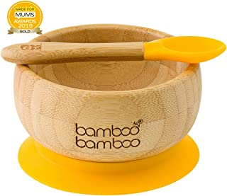 Baby Suction Bowl and Matching Spoon Set, Suction Stay Put Feeding Bowl, Natural Bamboo (Yellow)