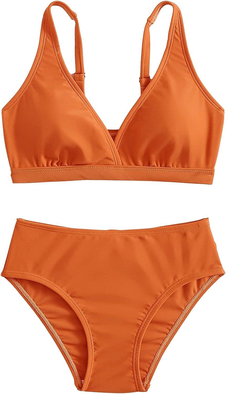 SOLY HUX Girl's Spaghetti Strap V Neck Bikini Bathing Suit Two Piece Swimsuits Burnt Orange 130