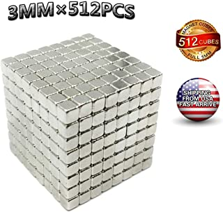 Magnetic Cube,3mm 512pcs Magnet Cube Intellectual Toy Stress Relief & Magnet Desk Toy for Children and Adults