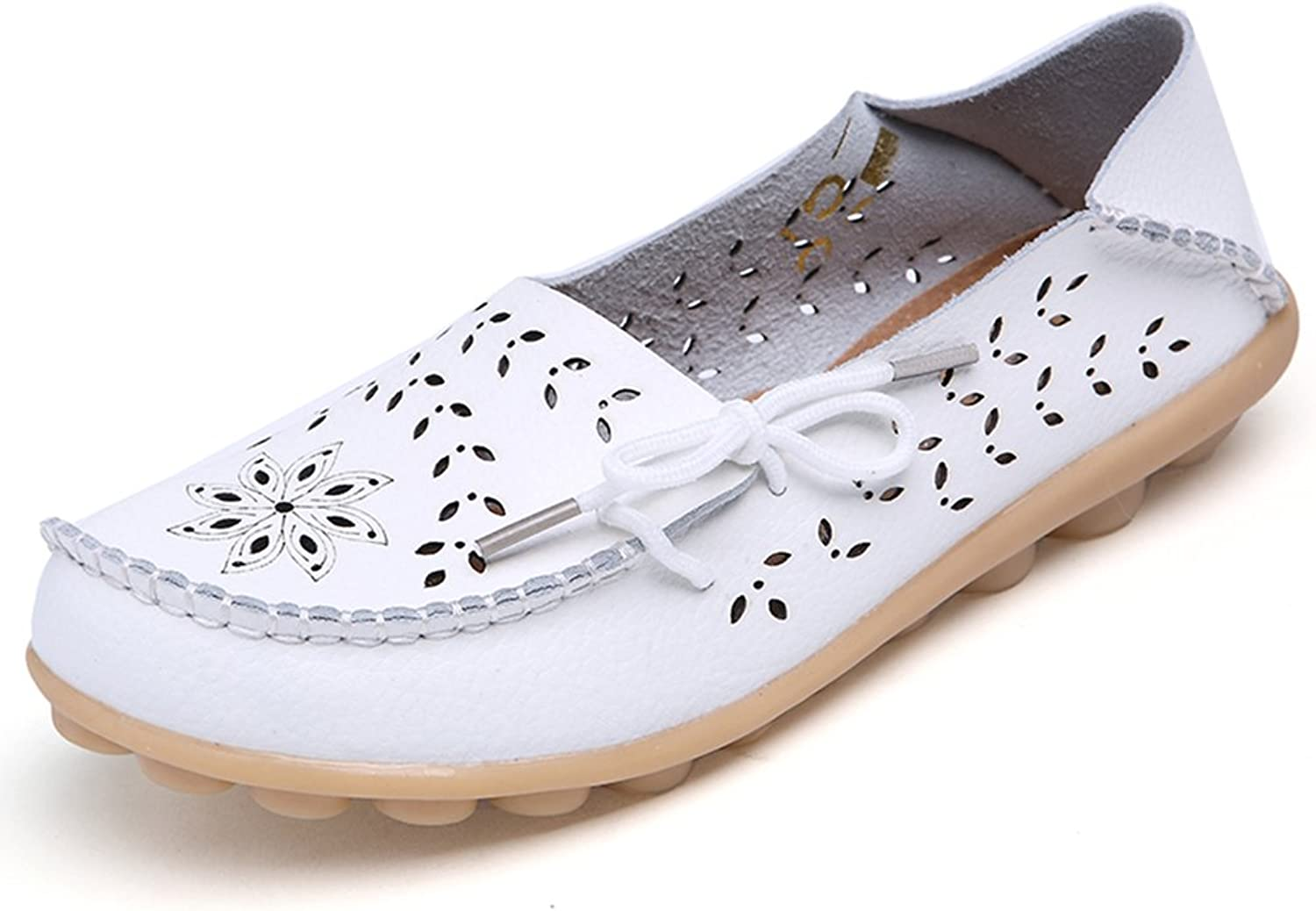 DUOYANGJIASHA Fashion Brand Best Show Women's Leather Loafers Flats Casual Round Toe Moccasins Wild Breathable Driving shoes White