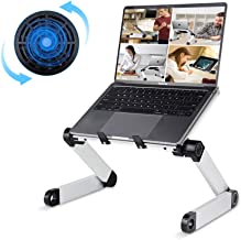 Adjustable Laptop Desk, RAINBEAN Laptop Stand with Large Cooling Fan Laptop Workstation Foldable Portable Notebook Holder Computer Table Book Riser Work Form Home for Ipad and MacBook …