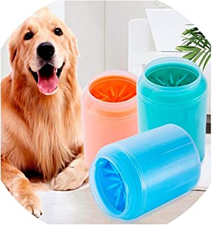 pursuit-of-self Dog Paw Cleaner Cup Soft Silicone Combs Portable Pet Foot Washer Cup Paw Clean Brush Quickly Wash Dirty Cat Foot Cleaning Bucket,Bright Orange,8X11Cm