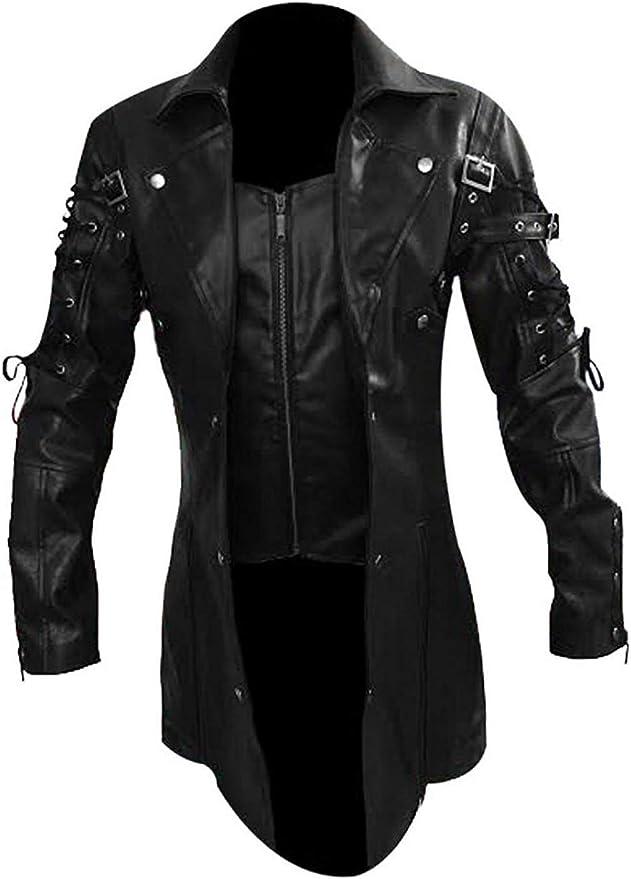 Men's Steampunk Jackets, Coats & Suits Mens Real Black Leather Goth Matrix Trench Coat Steampunk Gothic Jacket  AT vintagedancer.com