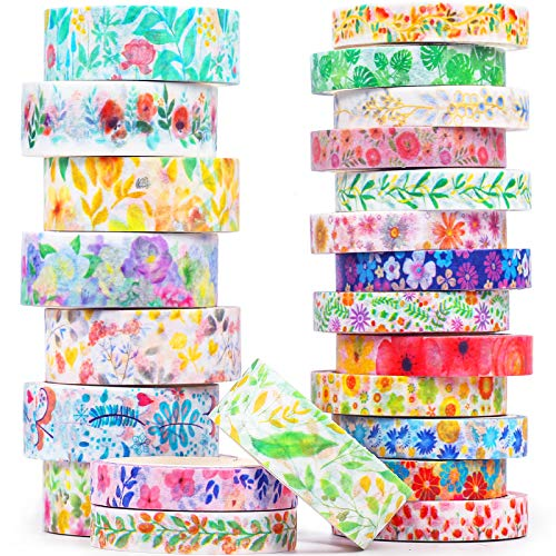 Floral Washi Tape Set 23 Rolls - Decorative Masking Tape for Bullet Journal,Crafts,Scrapbook Supplies, Card/Gift Wrapping - Wide and Skinny(8/15mm)