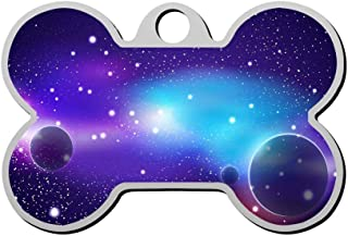 Customized Space Galaxy Pet Tag - Bone Shaped Dog Tag & Cat Tags Pet ID Tag Personalized Custom Your Pet's Name & Number 3D Printing