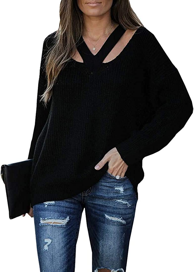 Cicy Bell Albuquerque Mall Women's V Neck Sweaters Casual Hollow Long Max 82% OFF Out Sleeve
