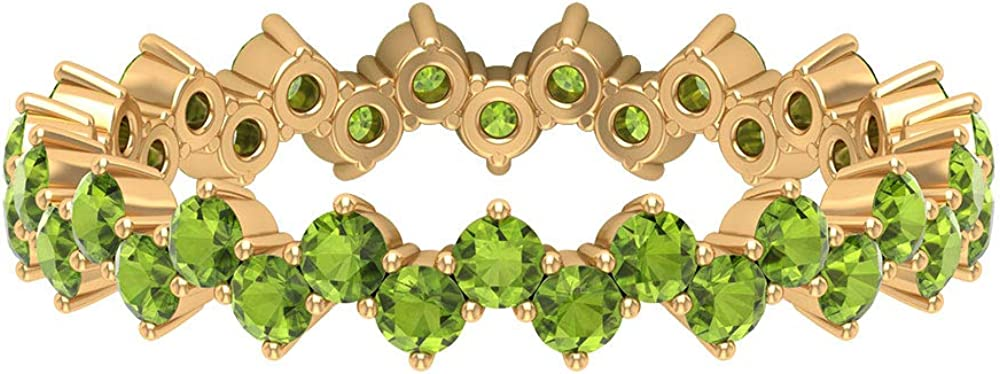 Zigzag Eternity Ring, Green Gemstone Ring, 1.90 CT Round Shaped Peridot Ring, Bridal Wedding Ring, August Birthstone Ring, Stackable Ring, 14K Gold