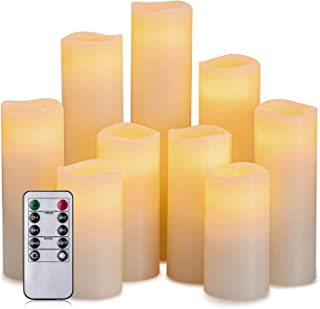 """Hausware Flameless Candles Battery Operated Candles H 4"""" 5"""" 6"""" 7"""" 8"""" 9"""" Real Wax Pillar Flickering LED Candle with 10-Key ..."""
