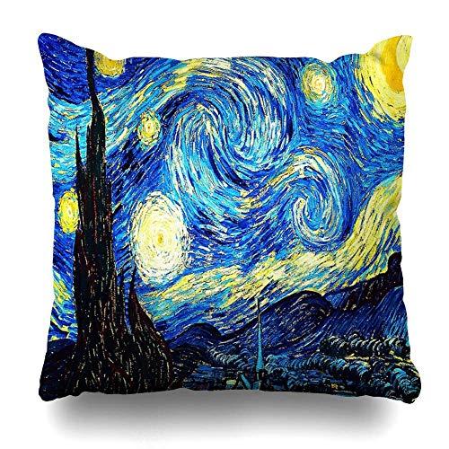 Mesllings - Federa quadrata per cuscino, 45 x 45 cm, motivo: Notte stellata Vincent Van Gogh, decorazione per la casa