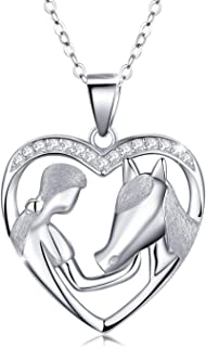 Horse Pendant Necklace Jewelry Gifts Silver Lucky Horse in Heart Necklace Embrace Horse Necklace for Cowgirls Women Girls,18