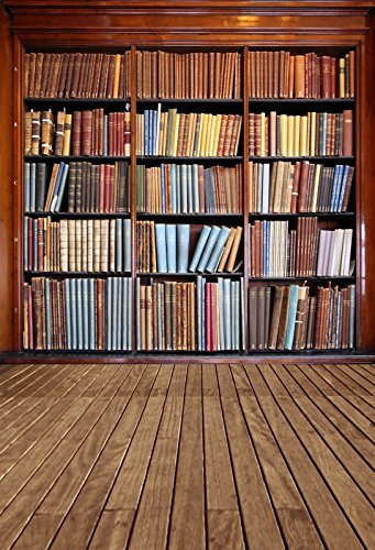Yeele 3x5ft Library Backdrop Vintage Bookshelf Wood Floor Book Collection Retro Bookcase Background for Photography School Library Interior Study Room Vinyl Kids Students Photo Shoot Studio Props