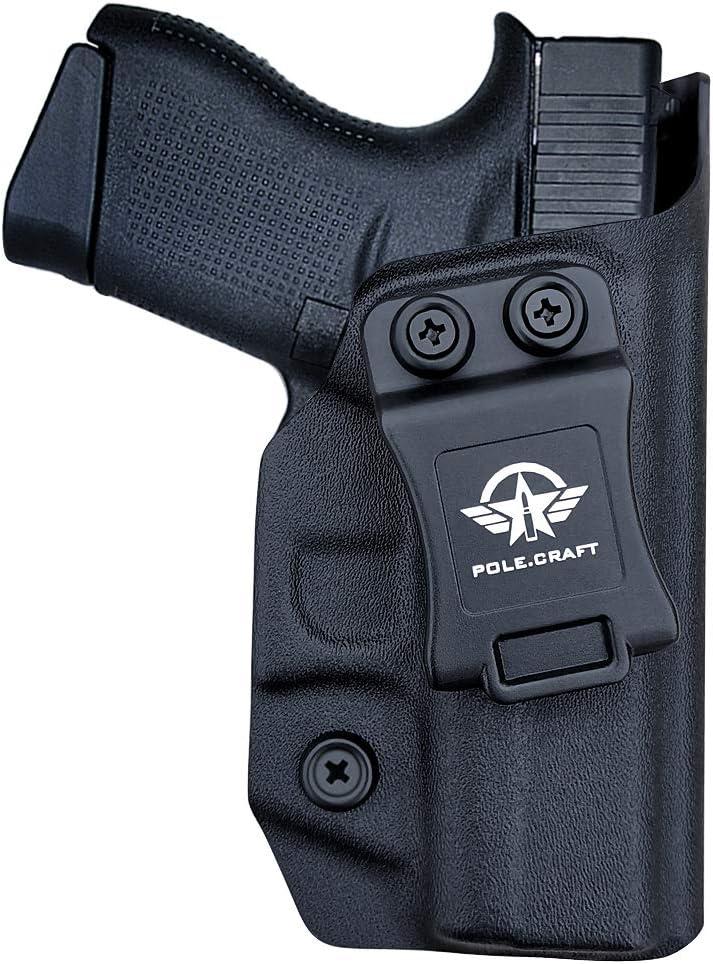 Glock 43 Holster, Glock 43x Holster IWB Kydex Funda Custom Fit: Glock 43 / Glock 43X (Gen 1-5) Pistol - Cintura interior Transporte oculto - Botón Mag superpuesto - Entrada ensanchada - Sin desgaste,