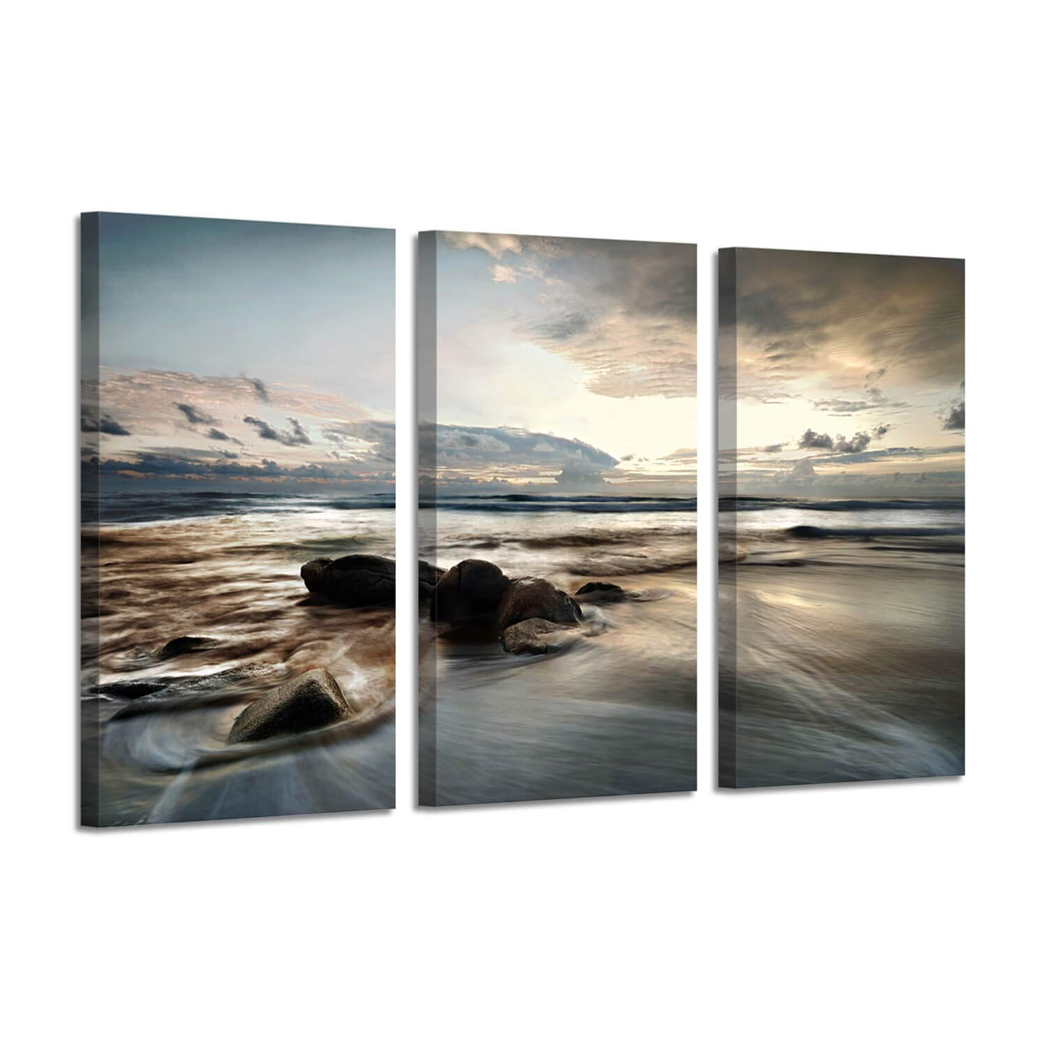 """Beach Canvas Art Wall Picture: Seascape Photographic Print on Canvas for Living Rooms(26""""x16""""x3 Panels)"""