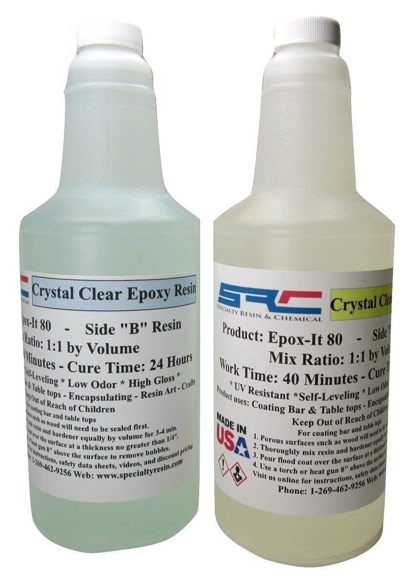2 Pcs of Epoxy Resin Crystal Clear Ranking TOP11 Coa Today's only Kit 64 for Gloss oz Super