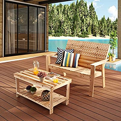 LOKATSE HOME 2 Pieces Outdoor Conversation Set Patio Stars and Stripes Printing Wood Loveseat and Coffee Side Table, Wooden