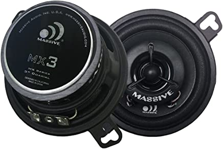 """$25 Get Massive Audio MX3 MX Series Coaxial Speakers. 50 Watts, 4 Ohm, 25w RMS Heavy Duty 3.5"""" 3-1/2"""" Coaxial Audio Speakers. Enjoy Crystal Clear Sound with These Great Coaxial Speaker System (Sold in Pairs)"""