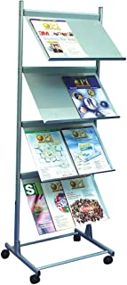 Deflect-o - Soporte de pie para folletos (A3, 4 estantes), color plateado