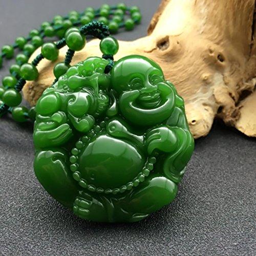 EASTCODE Natural Green Hand-Carved Chinese Hetian Jade Maitreya Buddha Statue Pendant + Rope Necklace