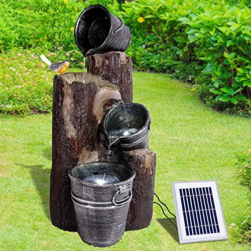 Solar Gartenbrunnen Brunnen Solarbrunnen Pretty-Bird mit Li-Ion-Akku & LED-Licht, Zierbrunnen Wasserfall Gartenleuchte Teichpumpe für Terrasse, Balkon, mit Pumpen