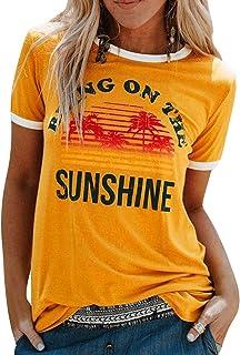 heekpek Camisetas Mujer Manga Corta Verano Camisetas Tops Algodón Amisetas de Impresión Manga Corta T Shirt Mujer Remeras ...