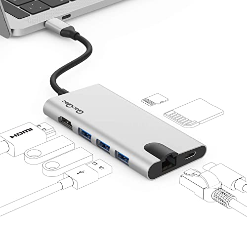 USB C Hub Adapter, QacQoc 8-in-1 USB C to HDMI(4K) Dongle with Type C PD Charging, 1000M Ethernet Adapter, 3USB 3.0 Type-C Hub, SD & Micro SD Card Reader Slots for MacBook,MacBook Pro (Silver)