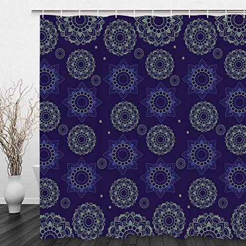 Alishomtll Duschvorhang Blumenmuster, Antischimmel Duschvorhänge Textil Wasserdicht Shower Curtains Badewanne Waschbar mit 12 Haken, 175x178 cm, Polyester