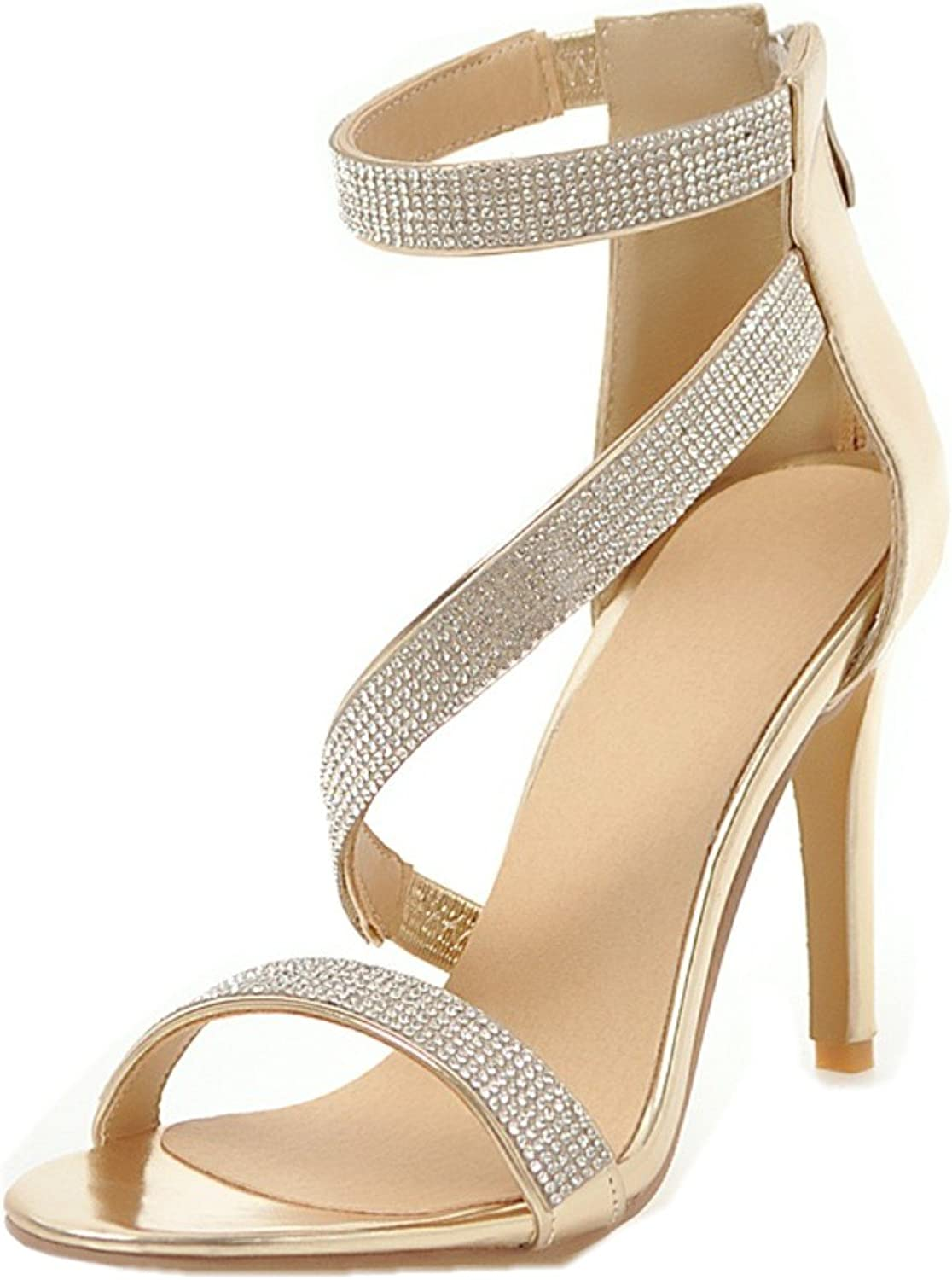 Rongzhi Womens Rhinestone High Heels Heeled Sandals Ankle Strap Stilettos Dress Party shoes Open Toe