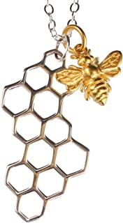 Night Owl Jewelry 24k Gold Plated Bronze Honey Bee and Sterling Silver Honeycomb Necklace- Available in 16