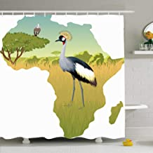 Ahawoso Shower Curtain Set with Hooks 66x72 Plumage African Tanzania Natural Savannah East Crowned Crane Eagle Vulture Animals Wildlife Nature Waterproof Polyester Fabric Bath Decor for Bathroom