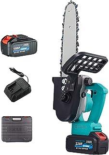 AIflyMi Motosierra eléctrica, Motosierra portátil inalámbrica, Motosierra eléctrica Recargable para Cortar Madera, batería de 12 Pulgadas y 21