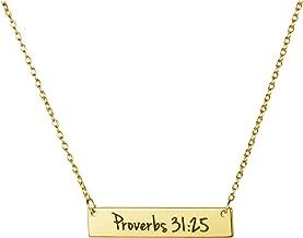Memgift Christian Bar Necklace Bible Verse Faith Jewelry Baptism Birthday Gift for Women Girls Sister