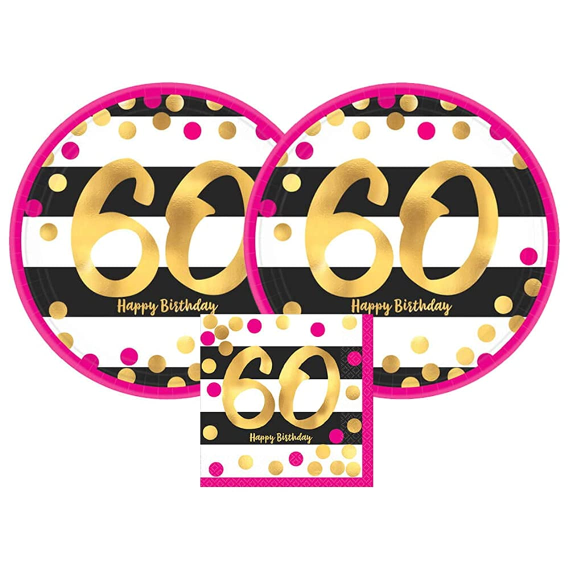 Amscan Pink & Gold 60th Birthday Party Paper Plates and Paper Napkins, 16 Servings, Bundle- 3 Items