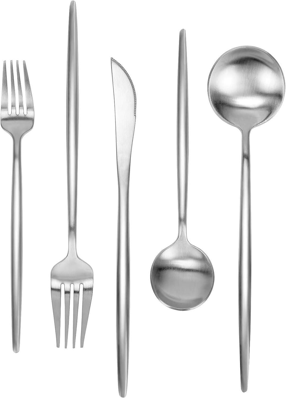 Matte Long-awaited Silverware Max 79% OFF Set 30 FAMEWAREStainless Pieces Steel Flat