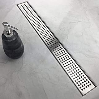 WINSOON 60 Inch Shower Linear Drain,Square Pattern Grate, Brushed 304 Stainless Steel Shower Floor Drain, Adjustable Leveling Feet,Hair Strainer (60 IN)